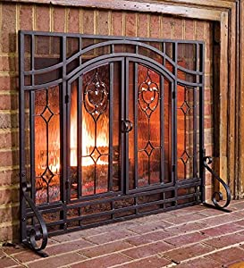 small two door floral fireplace screen with