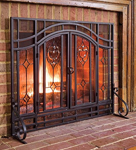 Small Two-Door Floral Fireplace Screen with Beveled Glass Panels, in Black picture