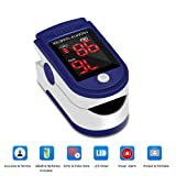 Fingertip Pulse Oximeter Blood Oxygen Saturation Monitor with Batteries and Lanyard Included-Blue Color (Color: Blue)