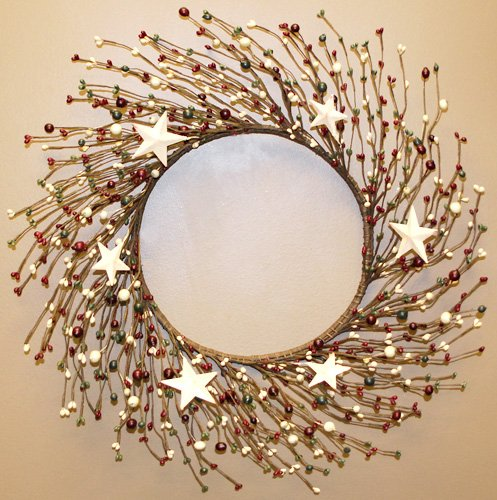 Red Green Cream Metal Stars-n-Berries Christmas