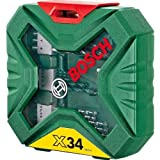 Advanced Bosch 34 Piece X-Line Classic Drill and Screwdriver Bit Set with Compact Pen 4 in 1 Pocket Screwdriver