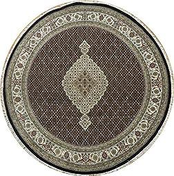 7\' x 7\' Indian Wool&Silk Tabriz Mahi Round Rug