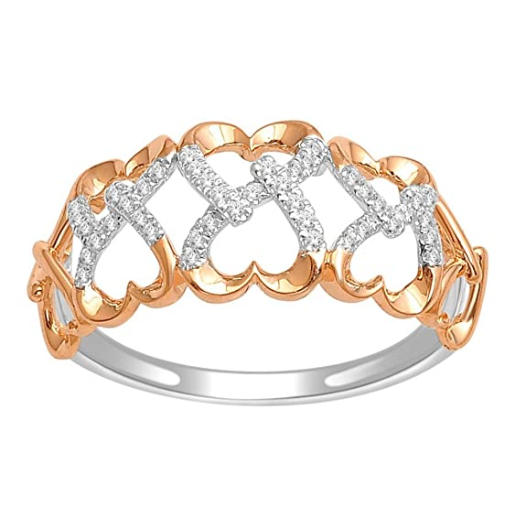 Rings-MidwestJewellery.com Women's 1/10Cttw Diamond Ring Woven Hearts Fashion Ring 10K Rose Gold 9.5Mm( 0.1Cttw)