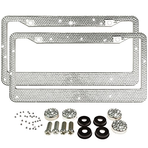 Jmkcoz 2 Pack Bling License Plate Frames Metal Chrome Luxury Crystal Bling License Plate Frame + Crystal Screw Caps for Both Front and Back License (License Plate Frames Rhinestones compare prices)