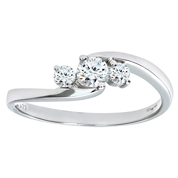 Naava 9ct White Gold Diamond Three Stone Ladies Ring