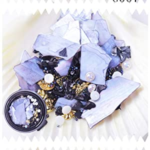 6 Wheels Nail Art Rhinestones and Studs Kit - Flatback Diamonds Crystals Beads Gems, Gold and Silver Metal Nail Rivets Triangle Square Jewels, Shell and Pearl with Tweezers and Brush