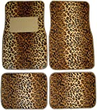 Plasticolor 001440R01 Universal-Fit Leopard Wild Skinz Front and Rear Floor Mat - Set of 4