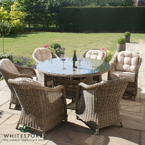 maze rattan 6 seater rounded armchair rattan winchester garden furniture round table dining set - Garden Furniture 6 Seater Round
