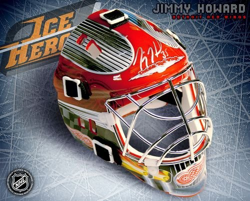 Jimmy Howard Detroit Red Wings Autographed Mini Mask - Autographed NHL Helmets and Masks