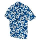 ユニフォーム アロハシャツ ハイビスカス柄 (AZ56102) ブルー L