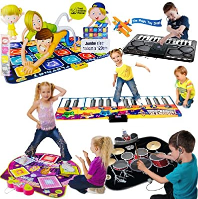 Childrens Kids Giant Electronic Musical Floor Play Mat 6 Designs: Twister Move, Dance Mixer, Drum Kit, DJ Music Style, Gigantic Keyboard, Giant City + Cars