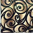 Modern Square Area Rug Black Bellagio Swirl Design #341 Bellagio (7ft3in.X7ft3in.Square)