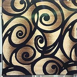 Modern Square Area Rug Black Bellagio Swirl Design #341 Bellagio (7ft3in.X7ft3in.Square)