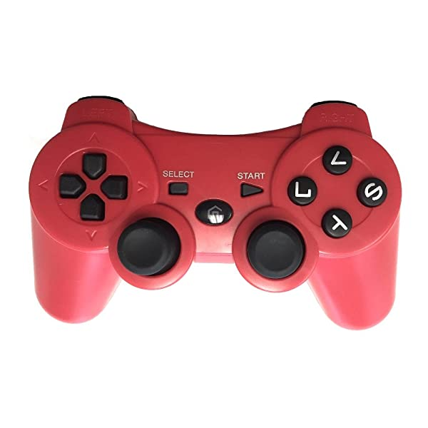 Wireless Bluetooth Game Controller for PS3, Gamepads for PlayStation 3 (Red) (Color: Red)