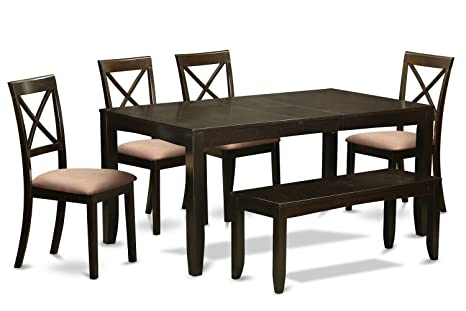 East West Furniture LYBO6-CAP-C 6-Piece Kitchen Table with Bench, Cappuccino Finish