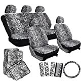 OxGord 17pc Leopard Seat Cover Carpet Floor Mat Set for Car/Truck/Van/SUV, Snow White