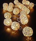 Warm White Rattan Ball string lights,5M 20 LED, for bedroom,Garden,Wedding,Christmas Decoration