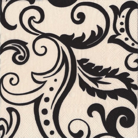 Entertaining with Caspari Filigree Cocktail Napkins, Black - 1