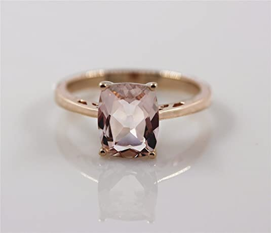 VogueGem Solitaire Morganite Engagement Ring 1.9ctw Natural Morganite 14k Rose Gold Wedding Ring Gemstone Ring