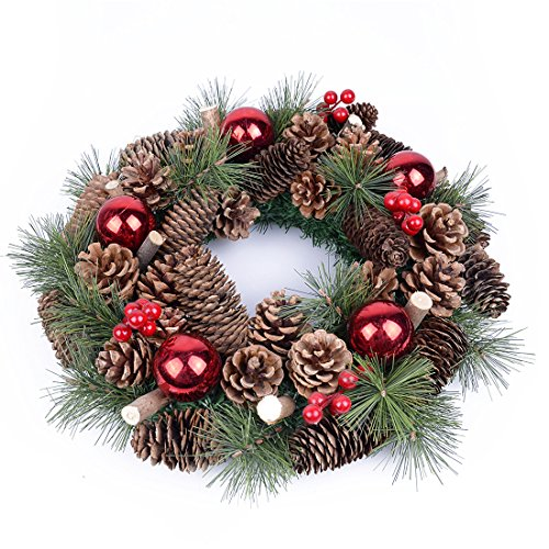 TOCO Artificial Christmas Pine Wreath 15'' Wintry Garlands with Cones, Red Berries and Balls Holiday Door Decoration Ornaments