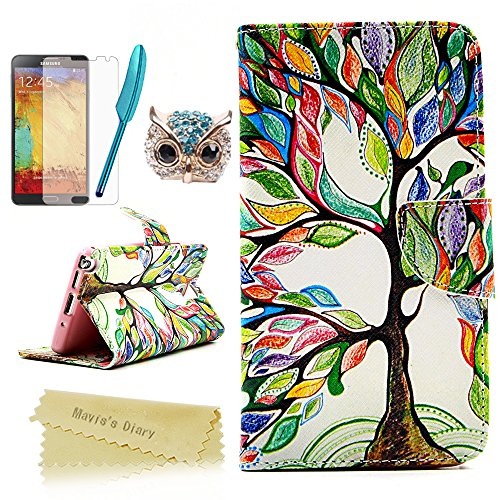Note 3 Case,Galaxy Note 3 Case - Mavis's Diary Special Painted Series Colorful Retro Tree Pattern PU Leather Wallet Type with Magnetic Clasp Credit Card Holder Design Folio Cover Durable Stand Case for Samsung Galaxy Note 3 N9000 N9005 N9006 with Soft Clean Cloth(One Tree Case&One Bling Cute Blue Owl Dust Plug&One Blue Feather Stylus Pen&One HD Screen Protector) (Galaxy 3 Phone Cases Wallet compare prices)