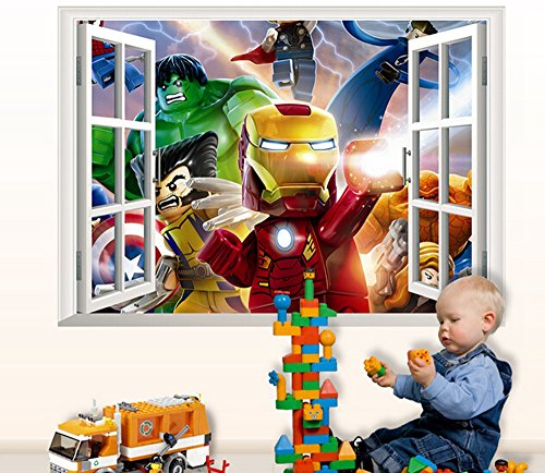 Giant superheroes avengers 3d wall sticker for kids rooms for Avengers wall mural amazon