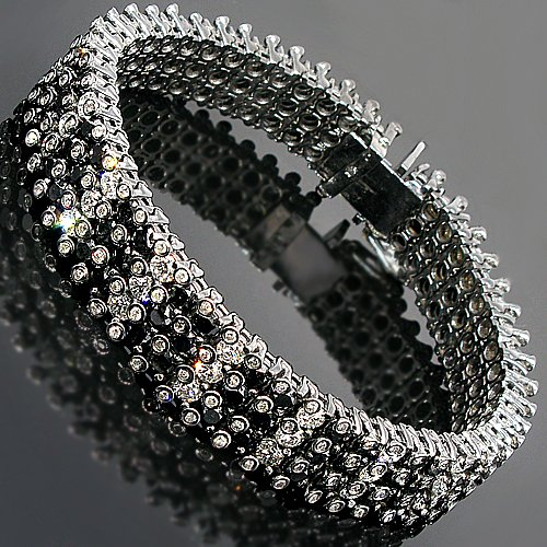 14K Gold Black Rhodium Plated Mens Diamond Bracelet