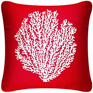 Wabisabi Green Coral Sea Fan 18 x 18 Inch Decorative Modern Cotton Square Throw Pillow Cover, Red