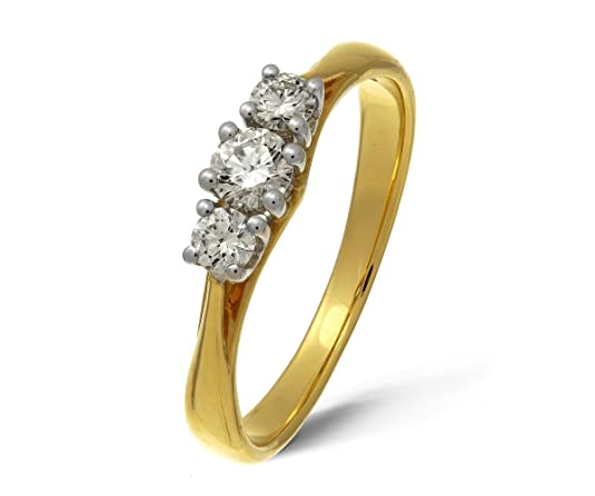 Naava 18ct Yellow Gold 0.33ct H-SI1 Certified Diamonds Trilogy Ring