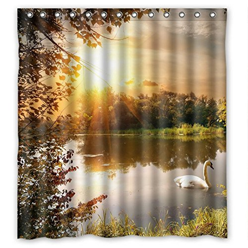 "abigai Quiet Lake Swans wallpaper Generic Custom Printed Waterproof fabric Polyester Bath Curtain Bathroom Decor Shower Curtain 48""(w) x 72""(h)"