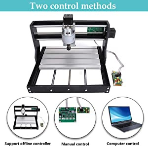 Upgraded CNC 3018 Pro GRBL Control Engraving Machine, 3 Axis PCB Milling Carving Machine, CNC Router Kit with Offline Controller and ER11 and 5mm Extension Rod (3018PRO) (Tamaño: 3018 PRO)