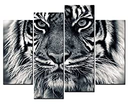 Canval prit painting Animal Wall Art Kingly Tiger Head Close up with Grey Eyes 4 Panel Picture on Canvas