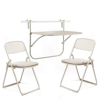 Gartenmöbel-Sets Eisen Kunst Drei Sets Von Tischen Und Stuhlen / Outdoor Balkon Klappstuhle / Composite Eisen Mesh Falten Tische und Stuhle Tische Stuhle Möbel Sets ( Farbe : B )