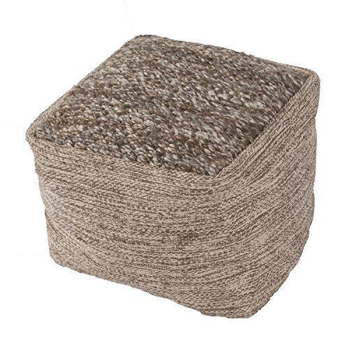 "Jaipurrugs Furniture Decor Ottomans Handmade Scan01 Wool Taupe/Tan Pouf Border Color Brownish Gray 16""X16""X16"""