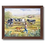 Holstein Cows Boy Puppy Dog Country Home Decor Wall Picture Cherry Framed Art Print