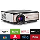EUG Home Theater Projector Android Wireless 1280x800 Wxga LCD Video Projector with WiFi HDMI Connectivity 3500 Lumens Multimedia LED Gaming Projectors for iPhone iPad Smartphone DVD TV Stick (Color: Android6.0/Wireless/3500 Lumen-EUG A8A)
