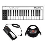 IK Multimedia iRig KEYS PRO 37-Key Controller with FP-P1L Piano-Style Sustain Pedal & 6ft MIDI Cable Bundle