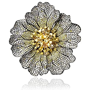 Diamond and Fancy Multi Colored Stones 18k Two Tone Gold Brooch Pin
