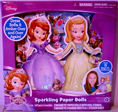 Sofia the First Sparkling Paper Dolls, Over 15 Magnetic Fashions, with Doll Stands.