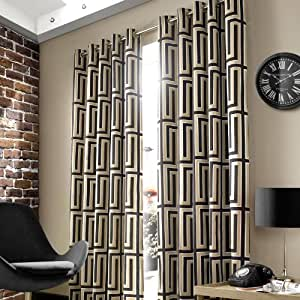 Wilde hoxton black geometric 90 quot x72 quot eyelet ready made lined curtains