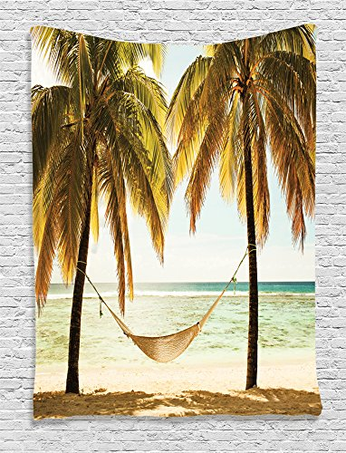 Ambesonne-Beach-Hammock-Decor-Collection-Seascape-Hammock-Palm-Trees-on-Shore-Tropical-Beach-Sunset-Picture-Bedroom-Living-Kids-Girls-Boys-Room-Dorm-Accessories-Wall-Hanging-Tapestry-Yellow-Ecru