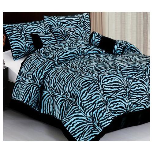 Imperial 7pcs micro fur black sky blue zebra for Blue zebra print bedroom ideas