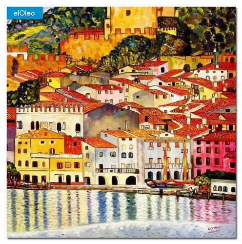 elOleo Gustav Klimt – Malcesine am Gardasee 120×120 Gemälde auf Leinwand handgemalt 83564A jetzt kaufen