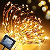 8 Modes Solar String Lights, [New Version] Amir® 100 LEDs Solar Powered Starry String Lights, Indoor/Outdoor Copper Wire Lights, Waterproof Ambiance Lighting for Gardens, Patios, Parties