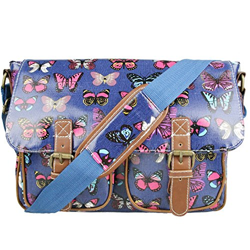 Miss Lulu Womens Oilcloth Satchel Bag Butterfly