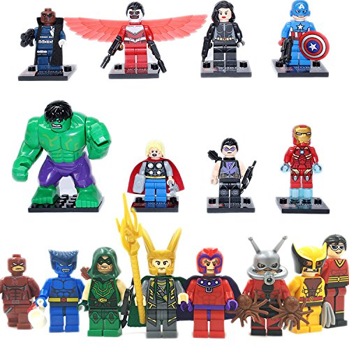 [Gooband® 16Pcs/Set The Avengers Superhero Captain America Nick Fury black widow X-men Green Arrow Magneto Building blocks minifigures toys bricks Children toys Educational DIY Toys No original] (Scarlet Spider Costume 2016)