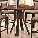 Fixed Round Top Counter Height Table in Dark Brown Finish by Coaster Furniture