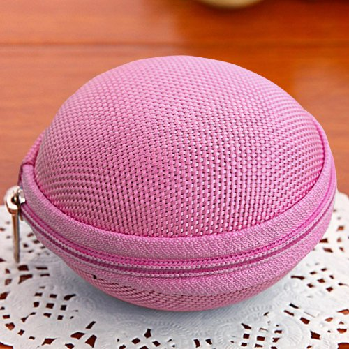 Cute Round Hard Storage Storage Purse Wallet Case For Earphone Headphone Earbuds Sd Tf Cards Mini Bag (Pink 01)