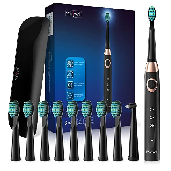 Fairywill Travel Electric Toothbrush for Adults and Teens, 10 DuPont Brush Heads, USB Rechargeable Teeth Whitening Portable Toothbrush, Travel Case Included, Cordless Sonic Toothbrush, FW508 Black (Color: Black, Tamaño: FW508+420)
