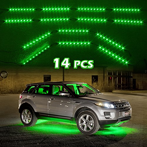 Green 14Pcs Three Mode Led Undercar Neon Accent Light Kit Waterproof Ultra Bright + Plug & Play All Accessories Included
